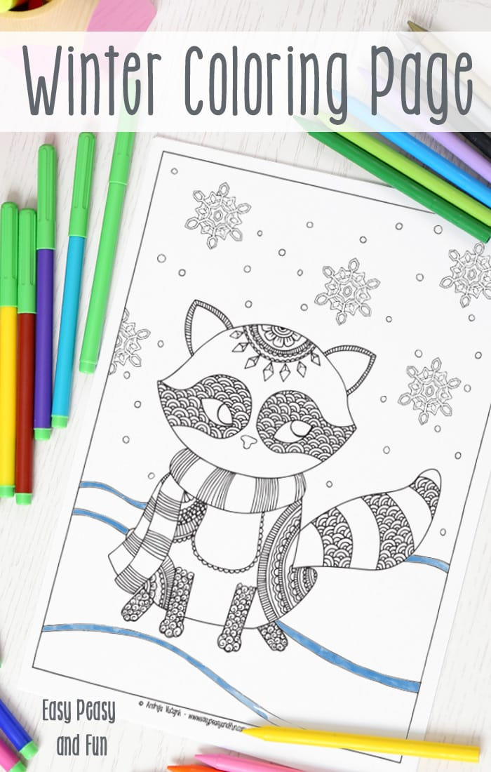 Raccoon Winter Coloring Page for Adults and Kids alike