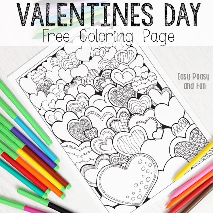 Hearts Valentines Day Coloring Page for Adults - Easy Peasy and Fun