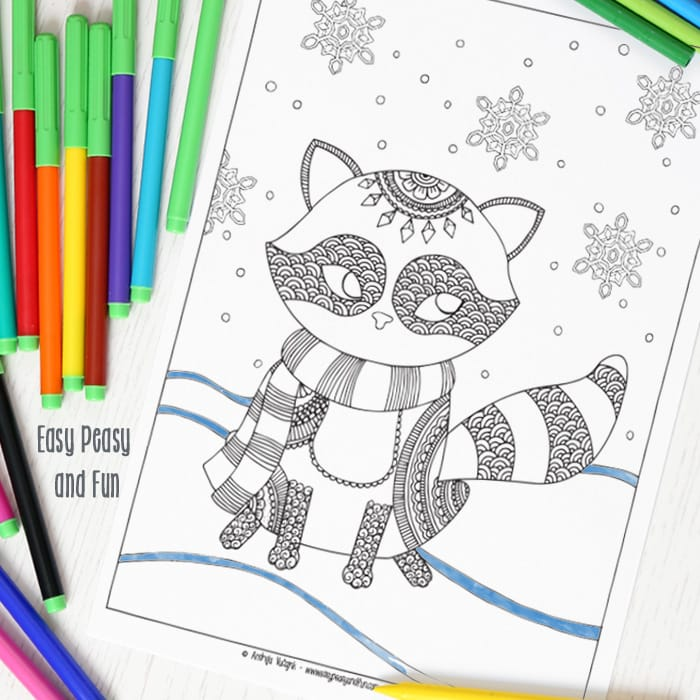 Winter Coloring Page For Adults With A Lovely Raccoon
