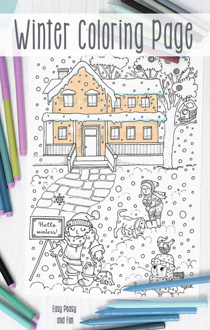 Free Winter Coloring Page Easy Peasy and Fun
