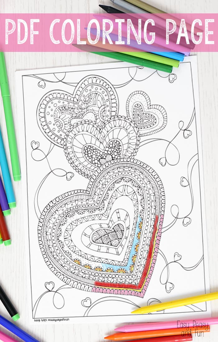 Zen Hearts Intricate Coloring Page