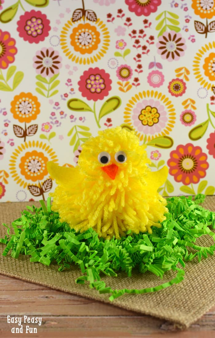 Cute chick pom pom craft pom pom crafts easy peasy and fun for Cute pom pom crafts