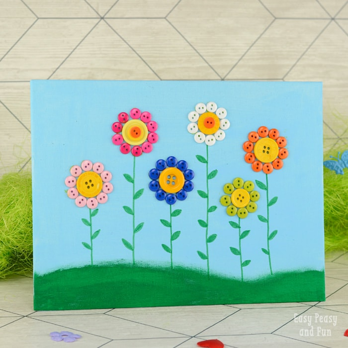 Button Craft Flower Canvas