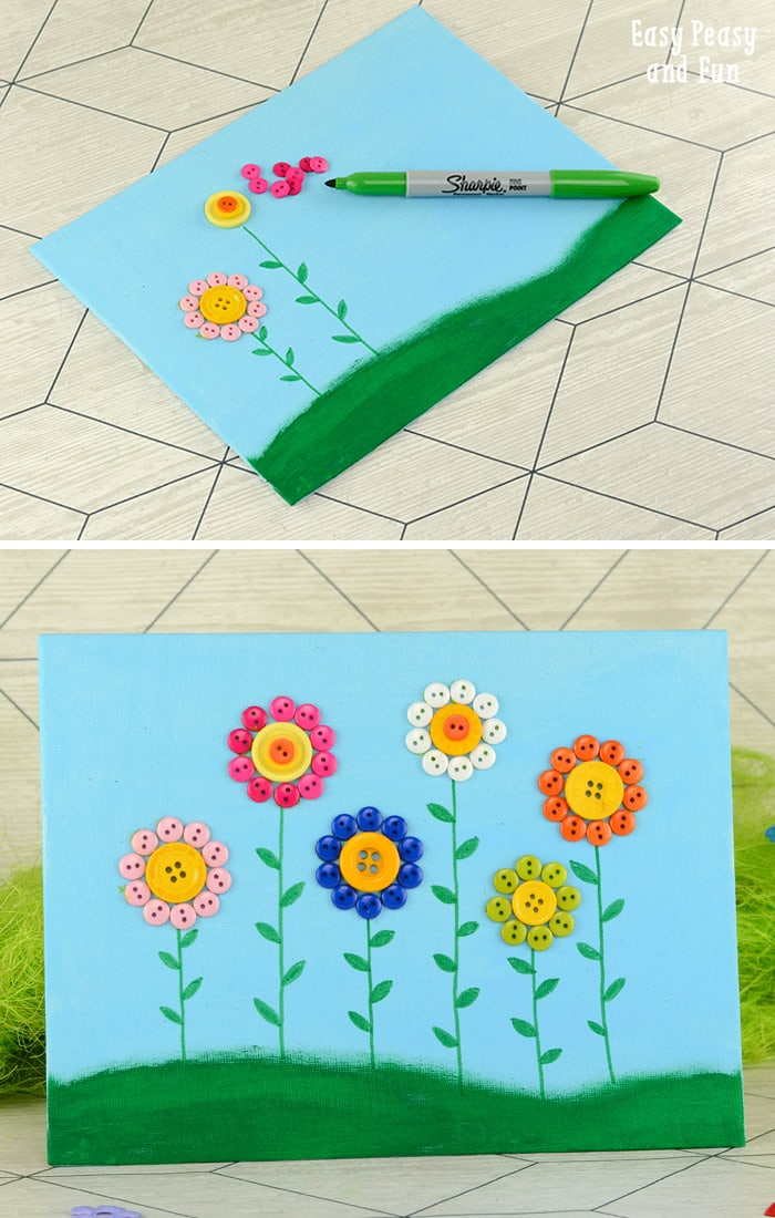 Button Flowers Canvas Easy Peasy And Fun