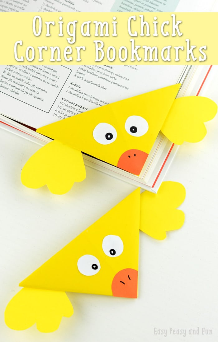Chick Corner Bookmark - DIY Origami Corner Bookmarks for Kids