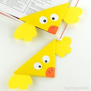 Easy Origami Corner Bookmark for Kids - Chick, perfect Easter origami for kids