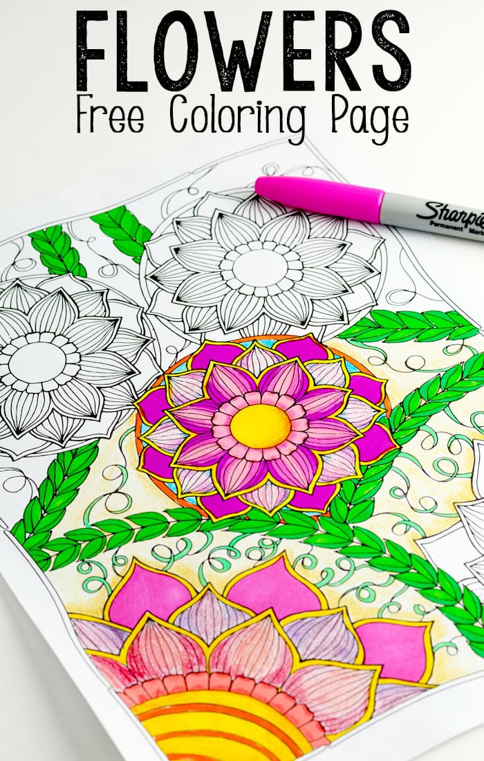 Flowers coloring page easy peasy and fun for Coloring pages for kids flowers