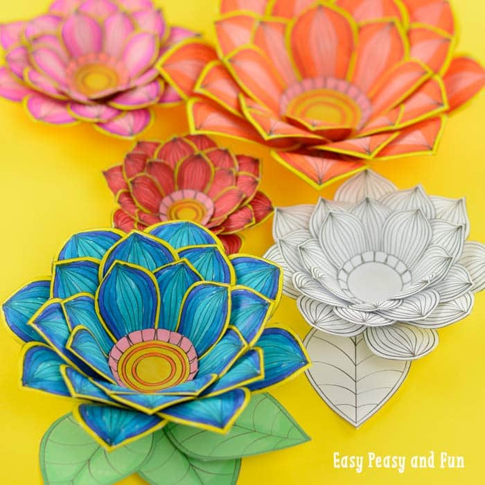 Paper Craft Flowers 3D Coloring Pages - Easy Peasy and Fun