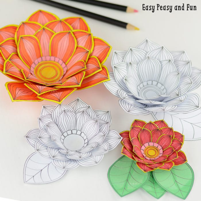 Paper craft flowers 3d coloring pages easy peasy and fun for Paper crafts for adults