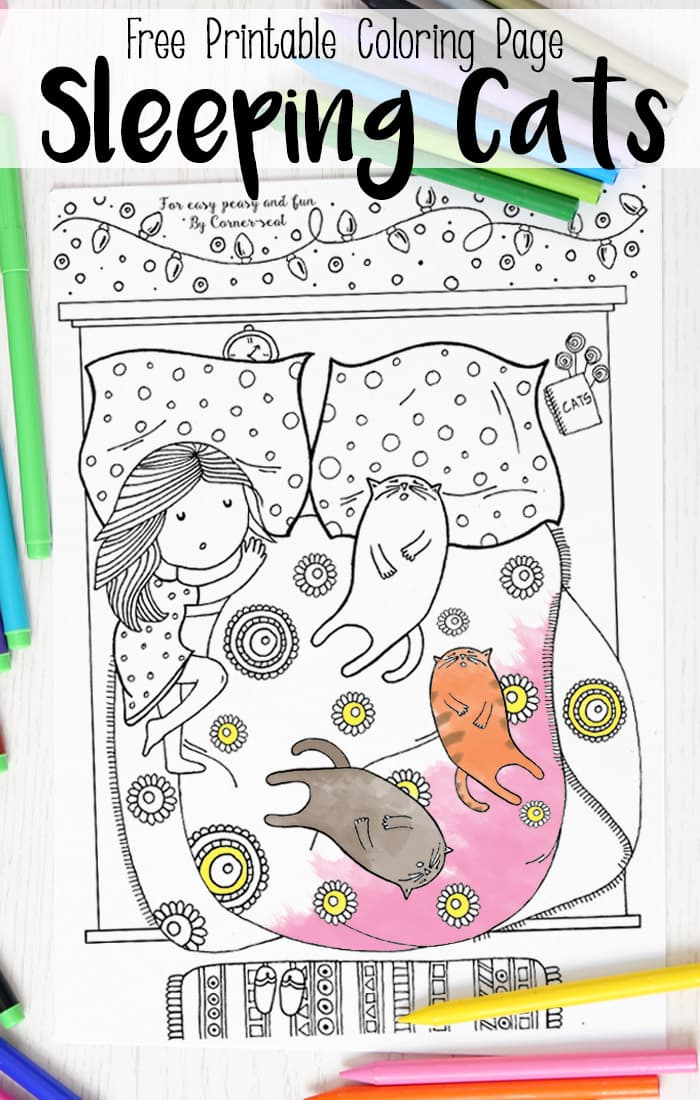 free printable sleeping cats coloring page for adults and kids alike