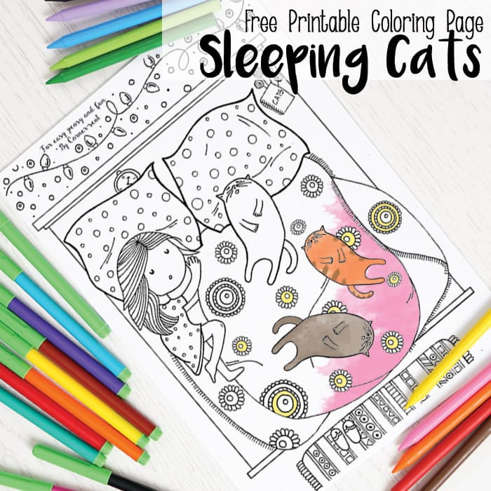 Sleepy Cats Coloring Page
