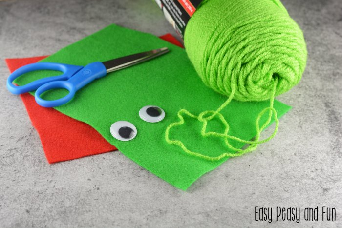 Supplies for Pom Pom Frog Craft