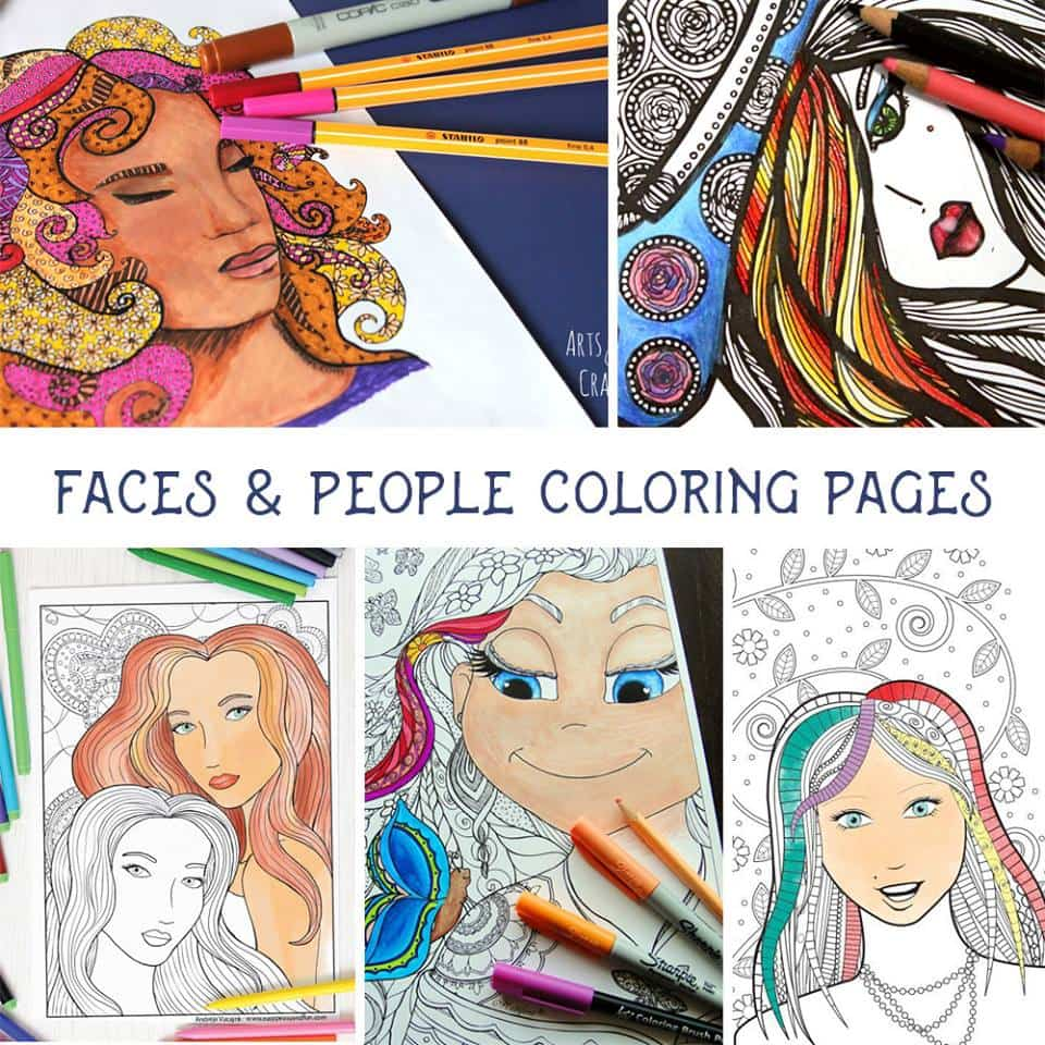 Faces Coloring Pages for Adults