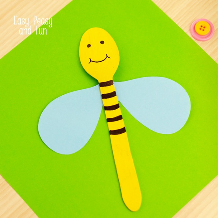 Wooden Spoon Bee Craft Spoon Puppets Easy Peasy And Fun