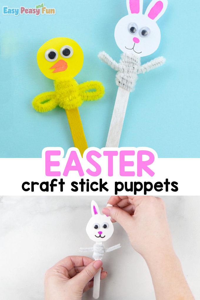 Craft Stick Easter Puppets