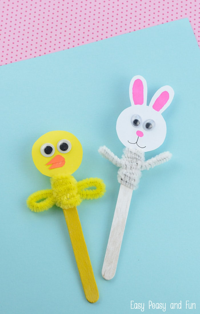 Easter craft stick puppets easy peasy and fun for Easter crafts pipe cleaners