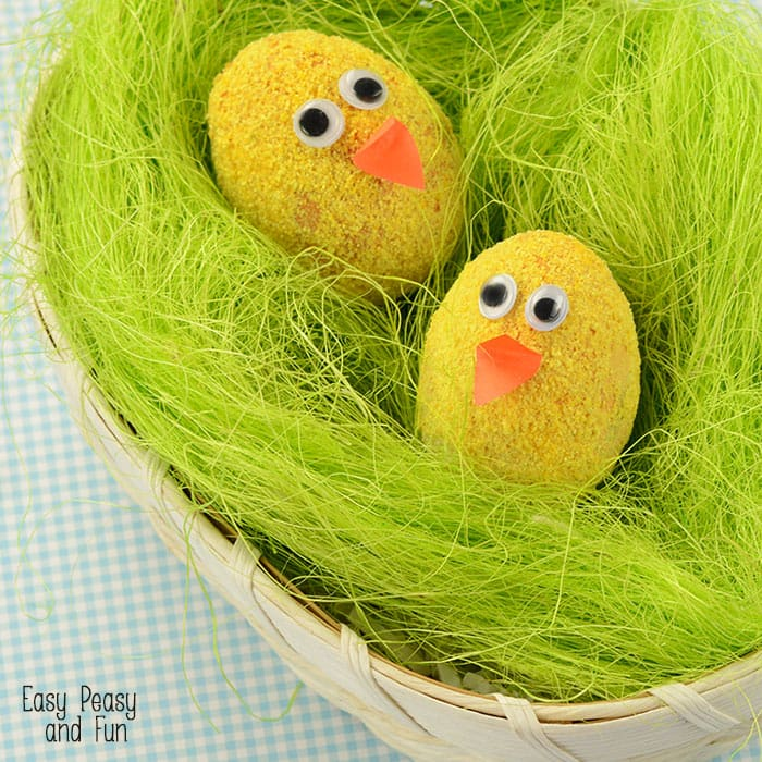 Easter Egg Decorating Idea - Fuzzy Chicks