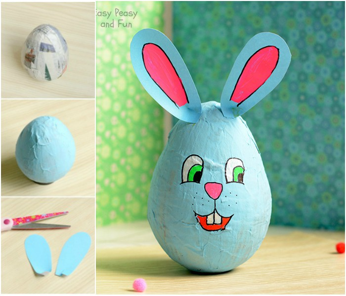Wobbling Papier Mache Bunny Easter Crafts For Kids Easy Peasy