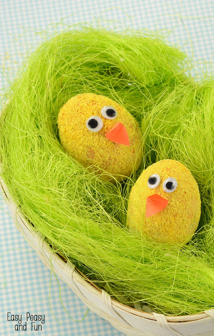 Fuzzy Chicks Easter Eggs Decorating Idea