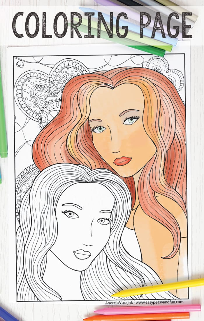 Free Printable Two Women Coloring Page for Adults