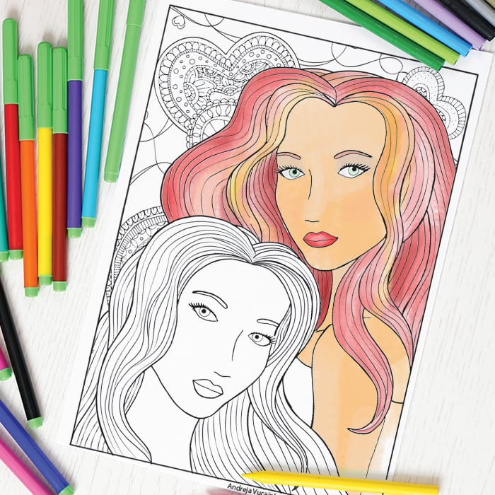 Two faces coloring page for adults - free printable