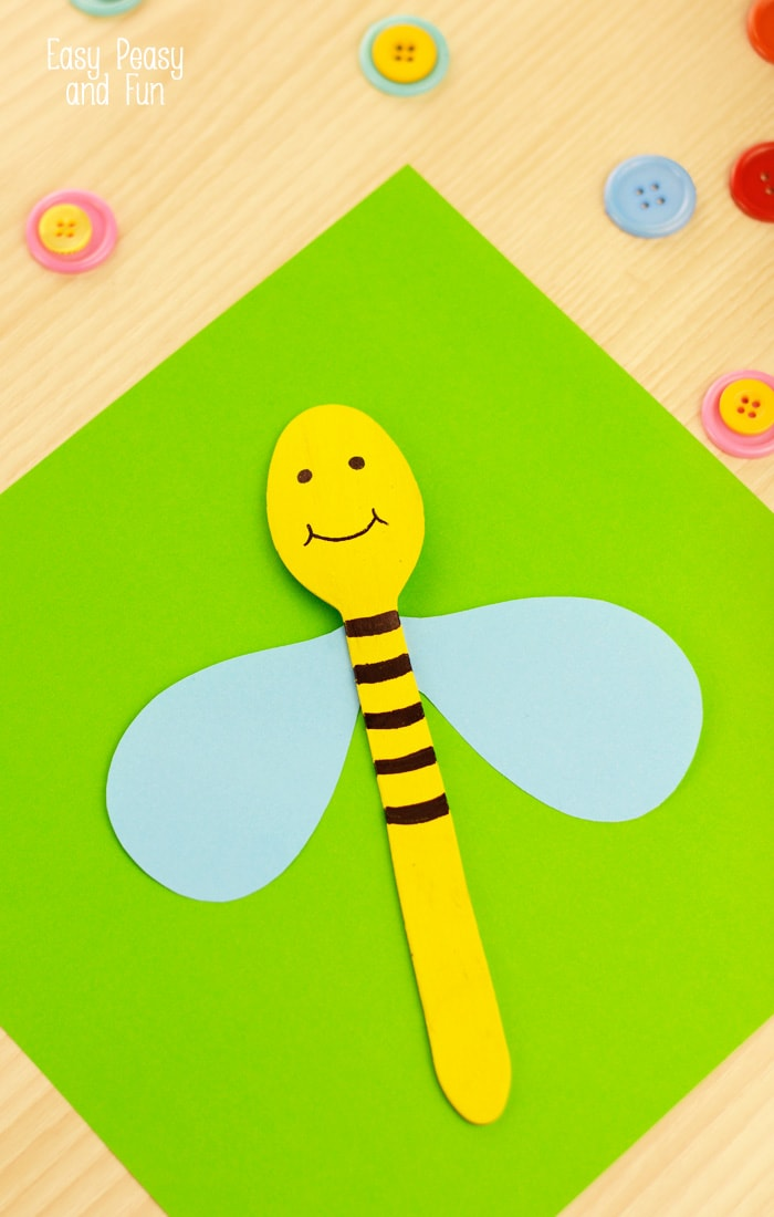Wooden Spoon Bee Craft - Silly Spoon Puppets