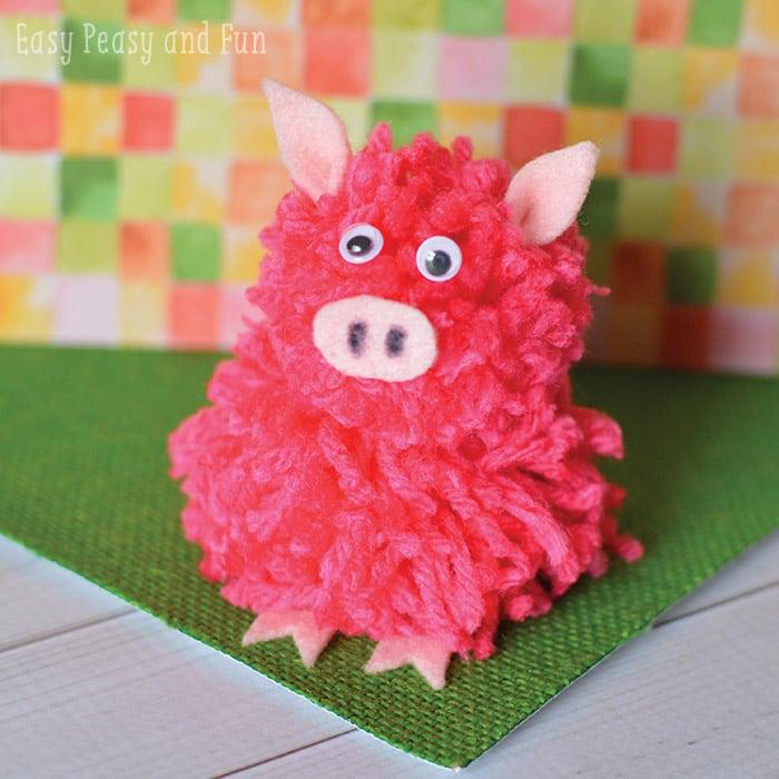 Adorable Pom Pom Pig Craft for Kids to Make