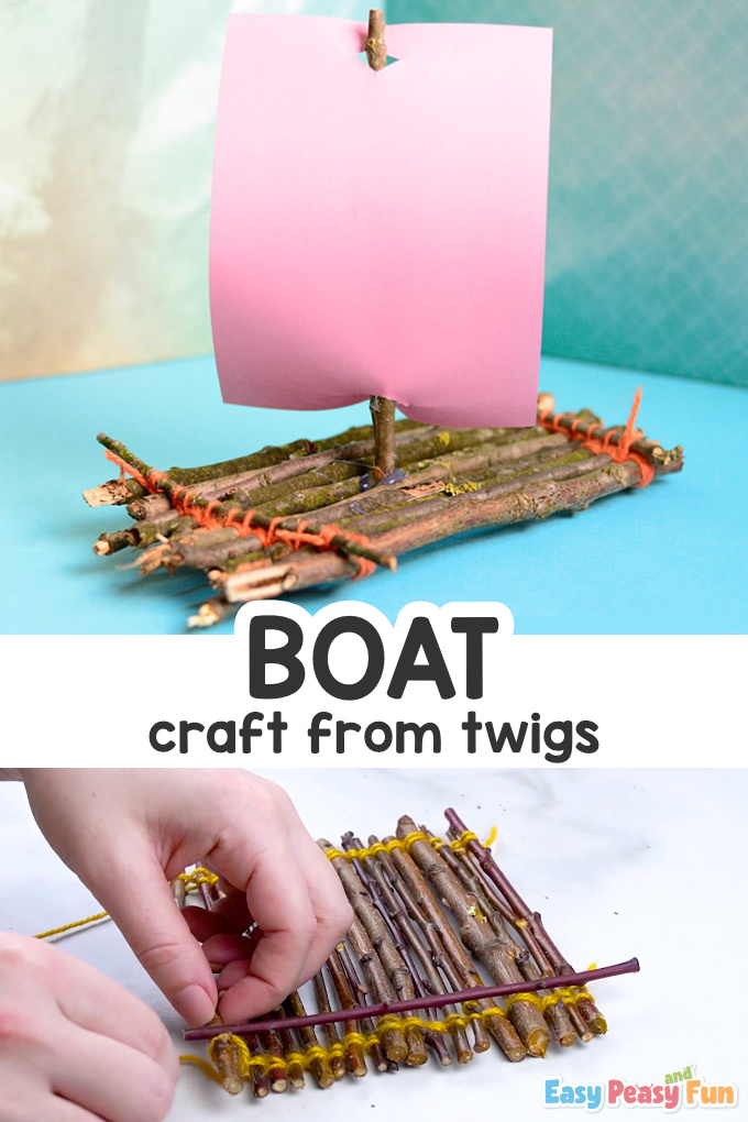Boat From Twigs Craft for Kids