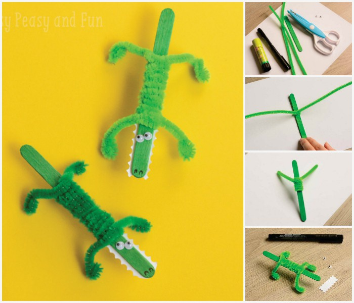 Crocodile craft collage
