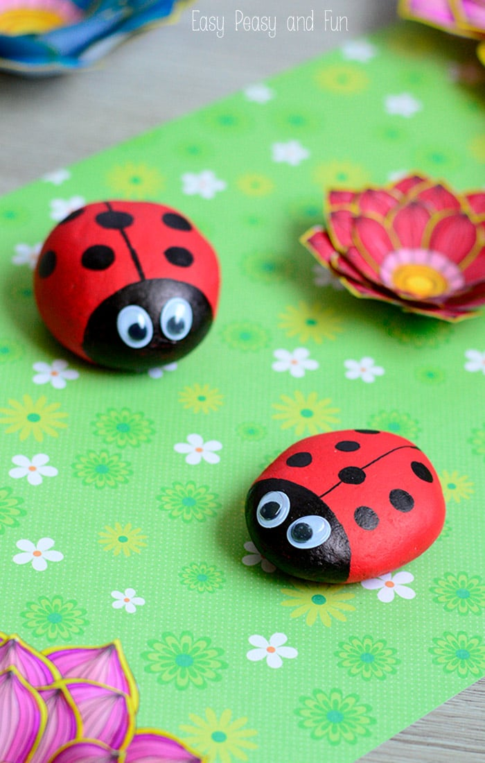 Cute Painted Ladybug Rocks Craft for Kids
