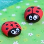 Cute Painted Ladybug Rocks - Simple Rock Crafts for Kids