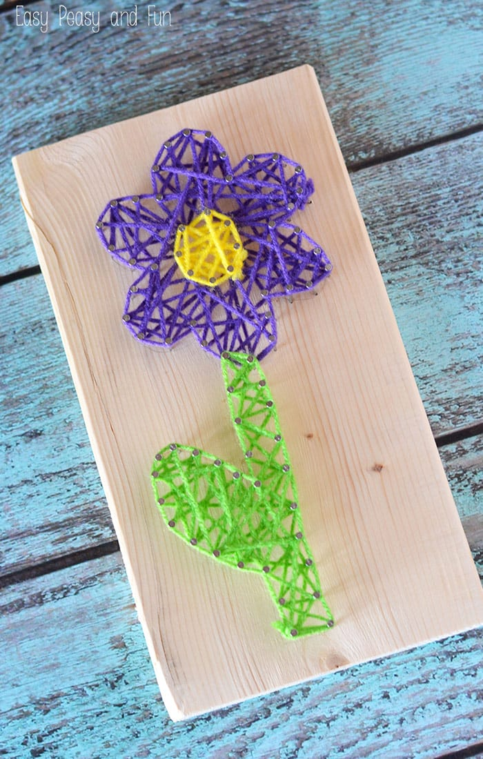 Flower String Art for Kids to Make