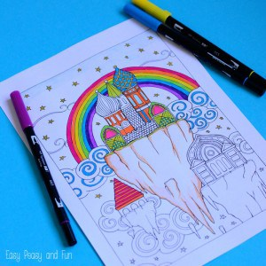 Sky City Coloring Page for Adults