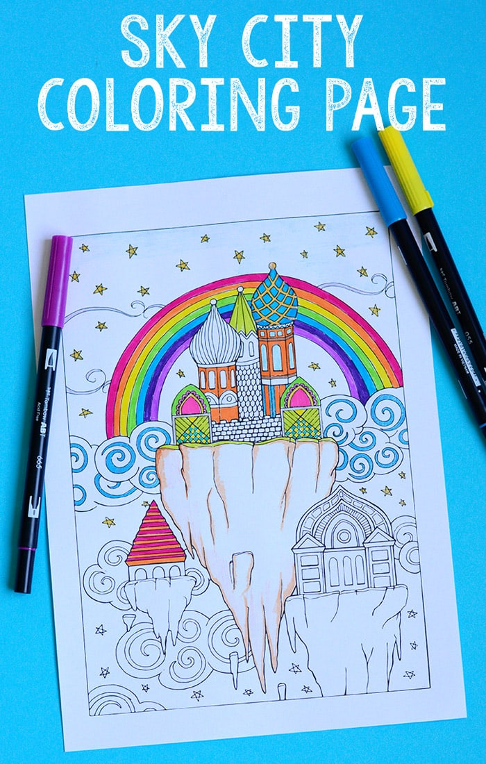 Fantasy Sky City Coloring Page for Adults