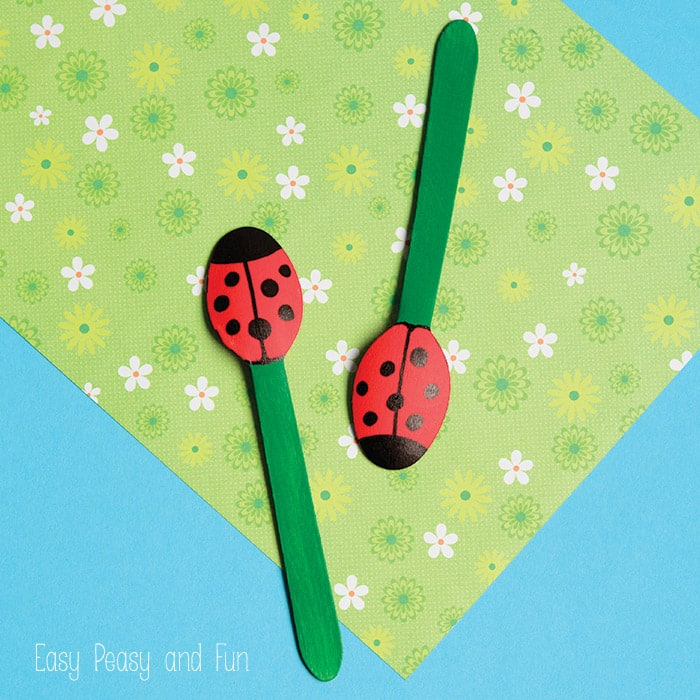 Ladybug Craft - Wooden Spoon Puppets