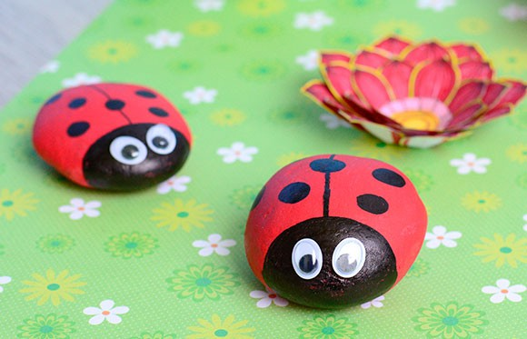 Cute Painted Ladybug Rocks Rock Crafts For Kids Easy
