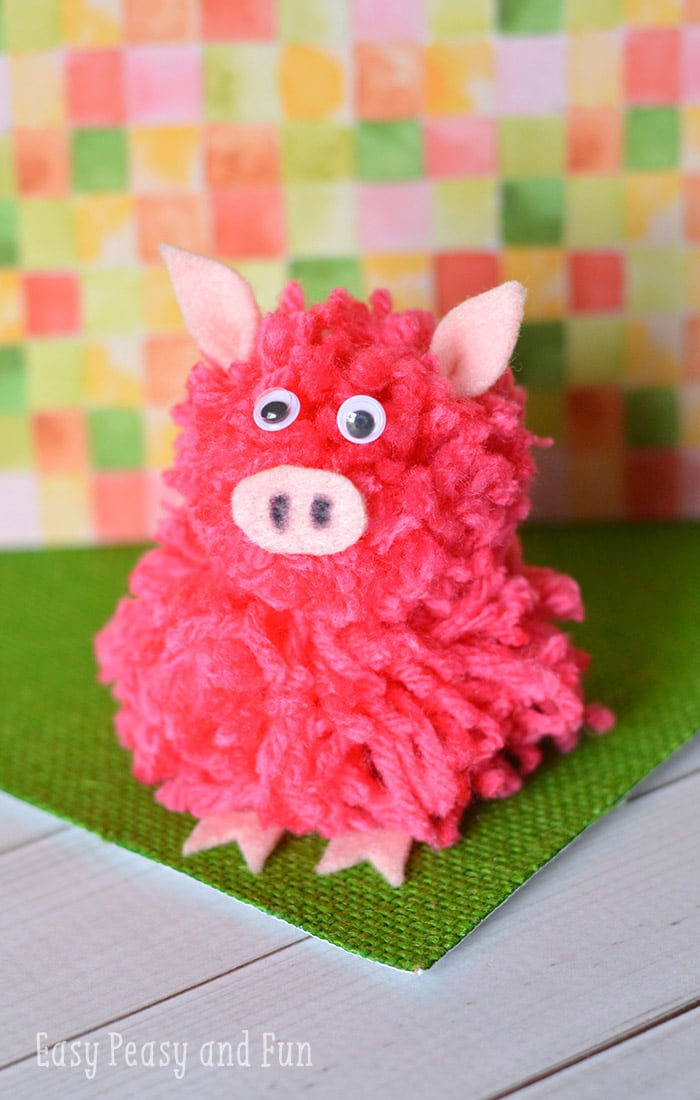 Pom pom pig craft pom pom crafts easy peasy and fun for Ideas for crafts to make