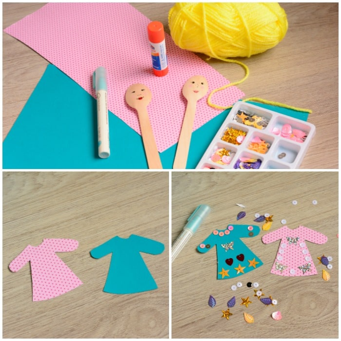 Making the wooden spoon princess puppets