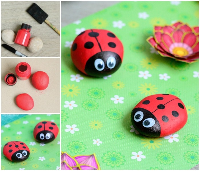 Rock Ladybug Collage
