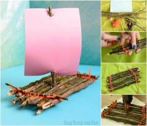 Twig Boat Collage