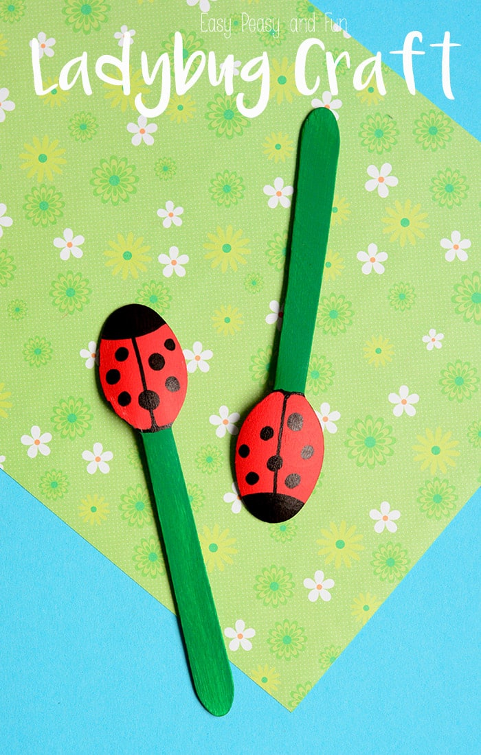 Wooden spoon ladybug puppets easy peasy and fun for Wooden spoons for crafts