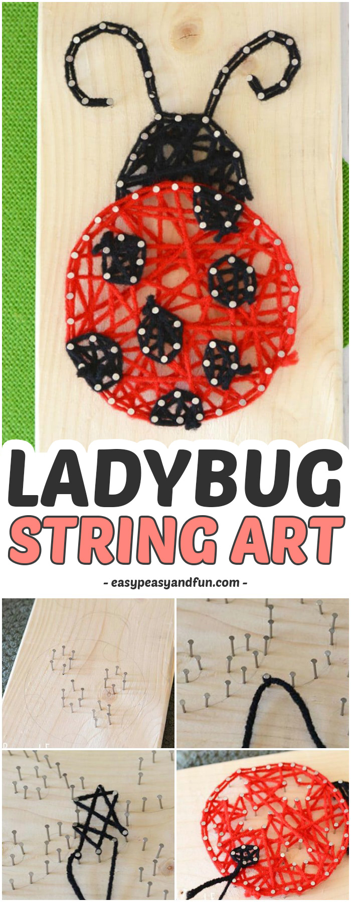Adorable Ladybug String Art #craftsforkids #activitiesforkids #Springcrafts