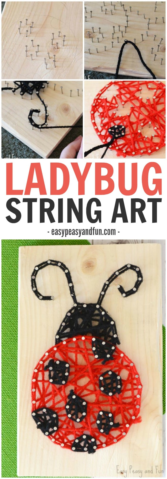 Adorable Ladybug String Art