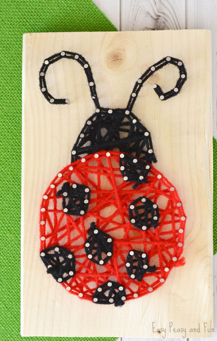 Adorable ladybug string art for kids, perfect project for beginners and kids allike