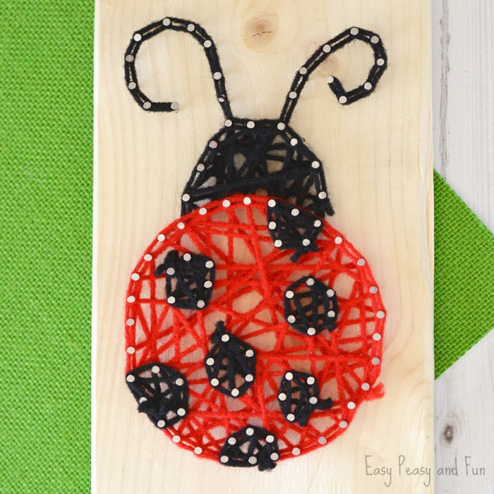 String art ladybug for kids to make