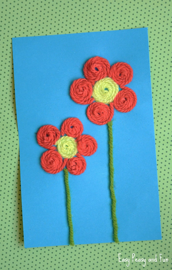Yarn Flowers Craft for Kids