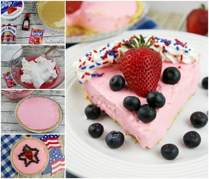 Yummy Patriotic Strawberry Kool Aid Pie