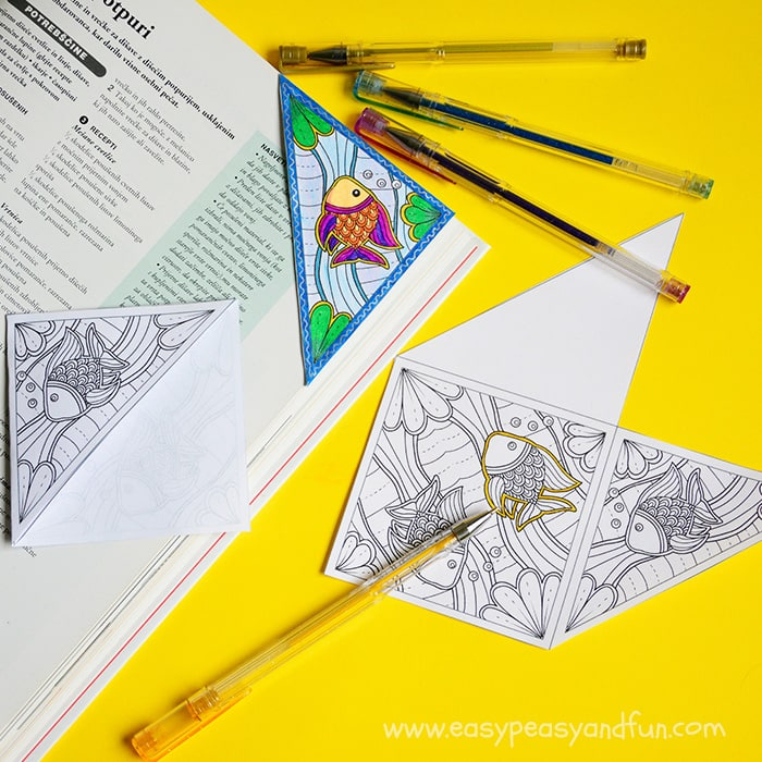 Corner Bookmark to Color - Coloring Page for Adults