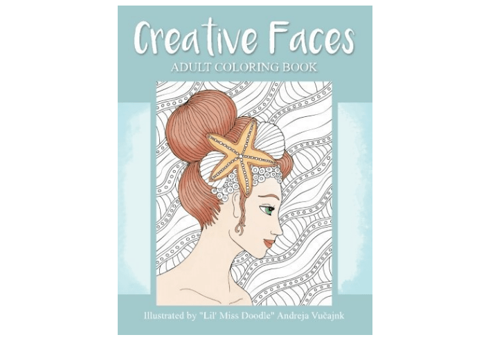 Cretive Faces Adult Coloring Book