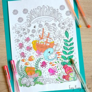 Lovely free ocean coloring page for grown ups